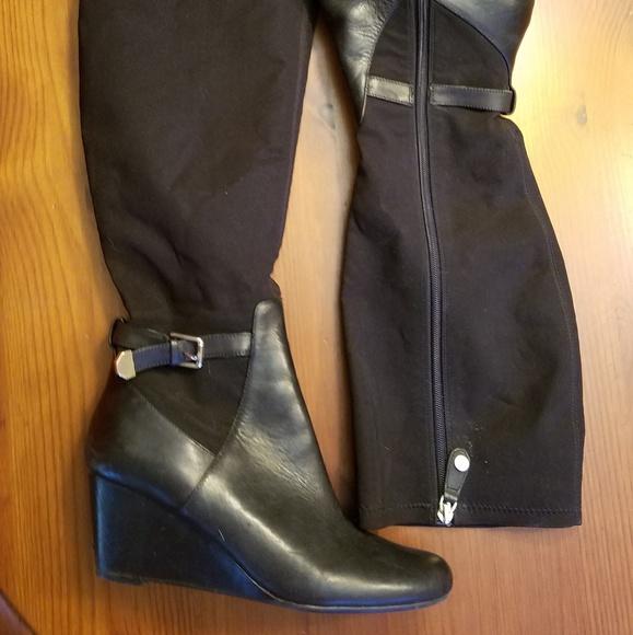 Isaac Mizrahi Shoes - Tall, leather wedge heel boots
